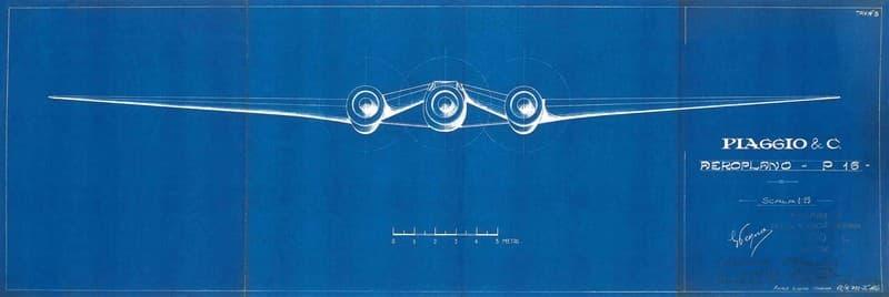 Disegno progettuale per Aeroplano P 16. Produzione Piaggio & C.