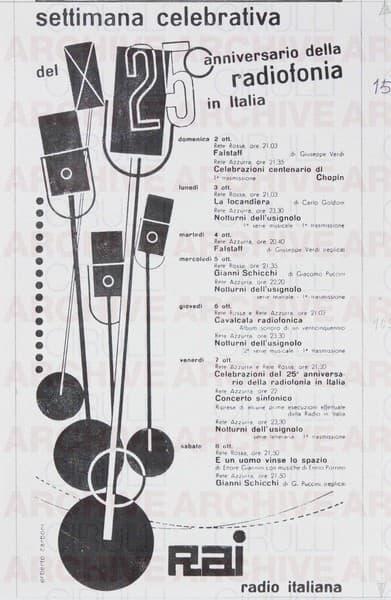 Rai Radio Italiana Settimana celebrativa del 25° anniversario della radiofonia in Italia