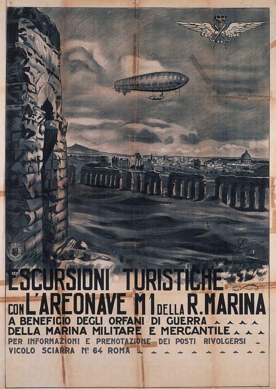 Escursioni Turistiche con L'Areonave M1 della Regia Marina a beneficio degli orfani di guerra della Marina Militare e Mercantile