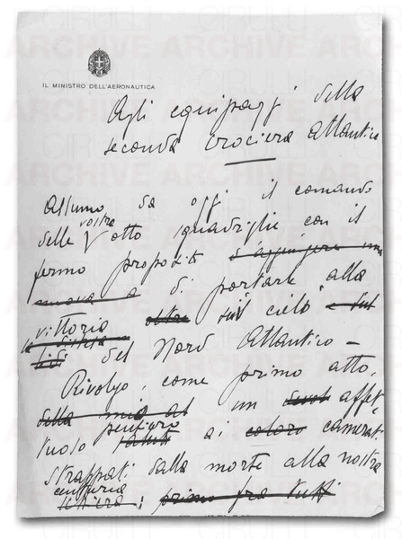 Balbo's speech to the Atlantics before leaving from Orbetello on July 1st, 1933. Original manuscript.